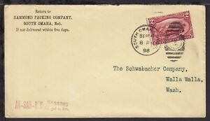 UNITED STATES 1898 South Omaha NEB Packing Advertising COVER 2c Farming EXPO