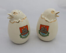 Crested China Cruet Set - Salt & Pepper Chick in Egg - Bridgwater Crest
