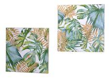 Wanddeko aus Holz 2er-Set Wandbild Wandschmuck Wanddekoration Bild Deko Blätter