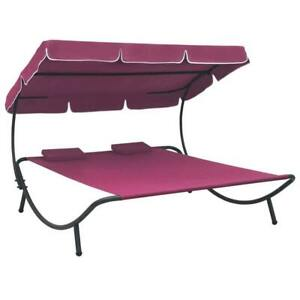Outdoor Lounge Bed with Canopy and Pillows Pink
