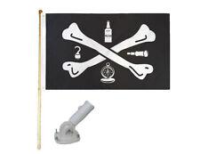 New listing 5' Wood Flag Pole Kit W/ Nylon White Bracket 3x5 Tools Of Trade Pirate Poly Flag