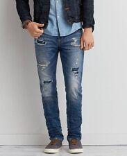 NWT AEO American Eagle Skinny Core Flex Destroyed Denim Jeans Men Size 32/26