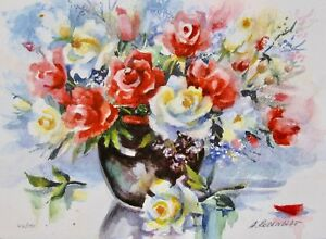 """ANA ROSENBLAT """"ROSE BOUQUET"""" Hand Signed Limited Edition Serigraph Flower Art"""
