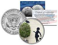 BANKSY * FLOWER GIRL * Colorized JFK Half Dollar U.S. Coin Art SECURITY CAMERA