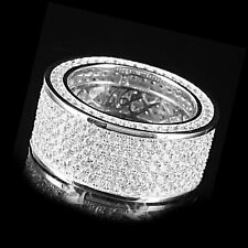 14K White Gold Sterling Silver Men 5 Row VVS1 Groom Band Pinky Ring Sale