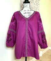 Charter Club Women's Embroidered Peasant Top Blouse XL, Magenta