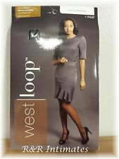 West Loop Ultra Sheer 100% Nylon Pantyhose, 176835, Off Black, Size B