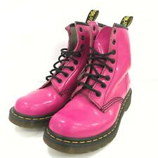 Dr Martens Boots Womens Size UK 4 Bright Pink Patent Leather Lace Casual 291613