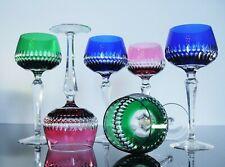 Antique Large 6 Glasses Chalice Wine Crystal Colour Size Boho