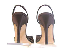 DESIGNER ISSAC BROWN SATIN SEE THROUGH FABRIC HIGH HEEL SLINGBACKS SIZE 8.5 MED