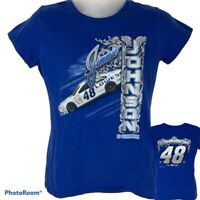 NASCAR Jimmie Johnson Womens Large T Shirt Chase Authentics Blue Graphic Tee