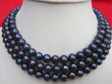 Schöne 9-10mm schwarz Tahitiperle Perlenkette 127cm