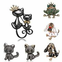 Fashion Carton Animal Cat Dog Crystal Brooch Pin Women Jewelry Party Gift New