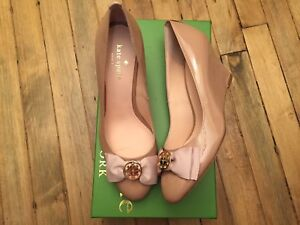 KATE SPADE NEW YORK WESCOTT FAWN PATENT LEATHER WEDGE SHOES NWB SIZE 6