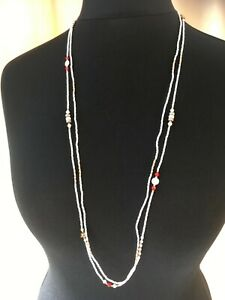 Set of 2 long white seed bead necklaces - N028