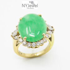NYJEWEL Brand New 18K Yellow Gold Jadeite Jade 1ct Diamond Ring