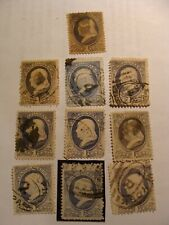 (10) pc. collection of 1881-82 Scott# 206 1-Cent Franklin, used Ultramarine