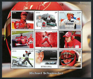 ETHIOPIA, YEAR 2016 MICHAEL SCHUMACHER RACING DRIVER PRIVATE ISSUE MINI SHEET