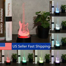 Guitar 7 Color Change LED Lamp 3D Night Light USB Touch Switch Gift Home Decor