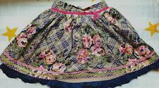 Monsoon Girls Embroidered Floral Plaid Skirt Size 6-7 yrs