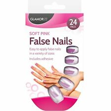 24 SET PINK FRENCH MANICURE FALSE NAILS FINGER TIPS INCLUDES ADHESIVE NAIL GLUE