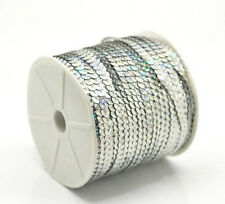 5M* 6mm Sequin Trim Ribbon Lace On a String In Silver for Craft Decoration
