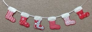 Embroidered Christmas Stocking Bunting Decoration