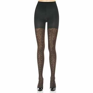 Spanx Takes Off Patterned Shaping Black Tights Filigree Women`s Size B 3129