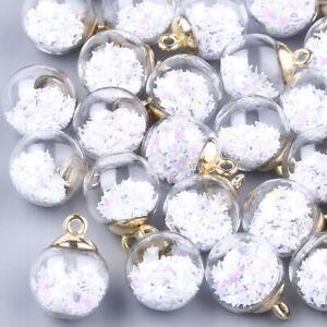 500 Pcs Glitter Star Sequins CCB Plastic Findings Glass Ball Pendants Charms