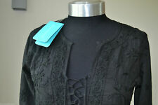 NEW MELISSA ODABASH BLACK EMBROIDERED TASSLE  KAFTAN / COVER UP SIZE MEDIUM NEW