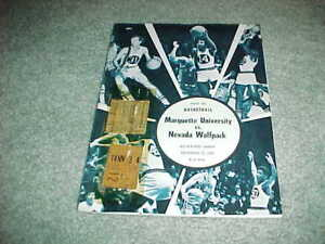 1970 Nevada Wolfpack v Marquette Warriors Basketball Program with Ticket 12/12