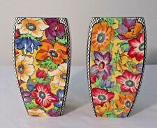 """MATCHING PR. OF 6"""" ROYAL DOULTON COLORFUL FLORAL VASES #5856"""
