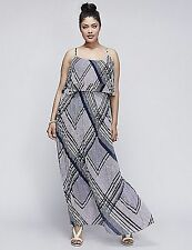 LANE BRYANT PLUS SIZE  BLUE Pleated TIERED Maxi Dress 18/20 STRIPED