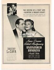 1941 UNFINISHED BUSINESS Irene Dunne Robert Motgomery Vtg Movie Promo Print AD