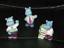 3 Vintage KINDER EGG Toys Surprise HIPPOPOTAMUS Hippos Office Books Cake Topper