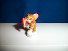 Jerry Mouse w/ Pencil Writing Drawing Mini Figurine Porcelain Feves Figure Tom &