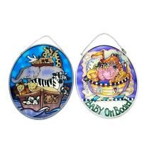 Stained Glass Suncatcher Noah's Ark & Baby on Board Oval Sun Catcher