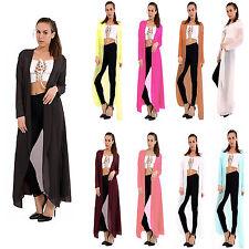 Womens Ladies Open Front Chiffon Waterfall Long Cardigan Long Sleeve Plus Sizes