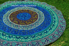 """Floral Peacock 72"""" Round 100% Cotton Tablecloth Astonishing Blue Craft Handmade"""