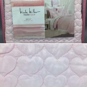 Nicole Miller Heart Quilt TWIN Cotton Coverlet Kids Girls Designer NEW