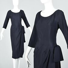 S Vintage 1940s 40s Saks Fifth Ave Silk Rayon Dress Navy Blue Cocktail Pinup