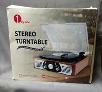 1byone Belt-Drive 3-Speed Stereo Turntable w/ Built in Speakers (D242)