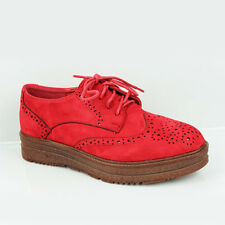 WOMENS CASUAL PLATFORM CHUNKY SOLE VINTAGE LACE UP OXFORD BROGUES SHOES SIZE 3-8