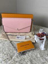 Louis Vuitton Pochette Felicie Rose Ballerine Chain Wallet Pink Epi Leather