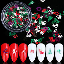 3D Metal Christmas Snowflake Nail Glitter Flakes Red Winter Sequins Nail Art