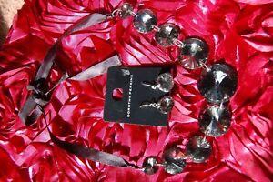 ❄️ New Mirror Back Glass Beads On black Ribbon & Earring Costume Jewellery Set