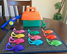 Vintage Little Tikes Catch & Count Fishing Tackle Box Complete with 10 Fish