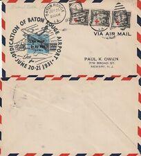 US 1931 DEDICATION OF BATON ROUGE AIRPORT LOUISIANA FLOWN COVER TO NEWARK NJ
