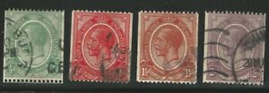 South Africa, King George V, 1913-21, Scott #17-20, Coils, perf. 14 horiz., used