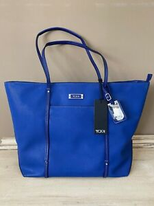 TUMI BLUE Q TOTE TEXTURED COATED TWILL WITH SILVER HARDWARE NWT